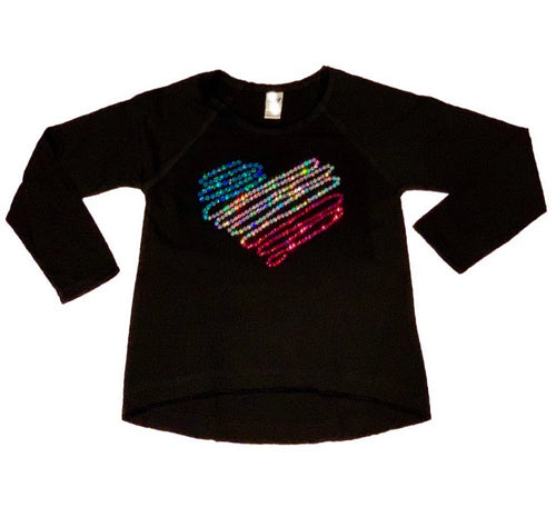 LHB SEQUIN SWIRL HEART L/S TEE - BLACK