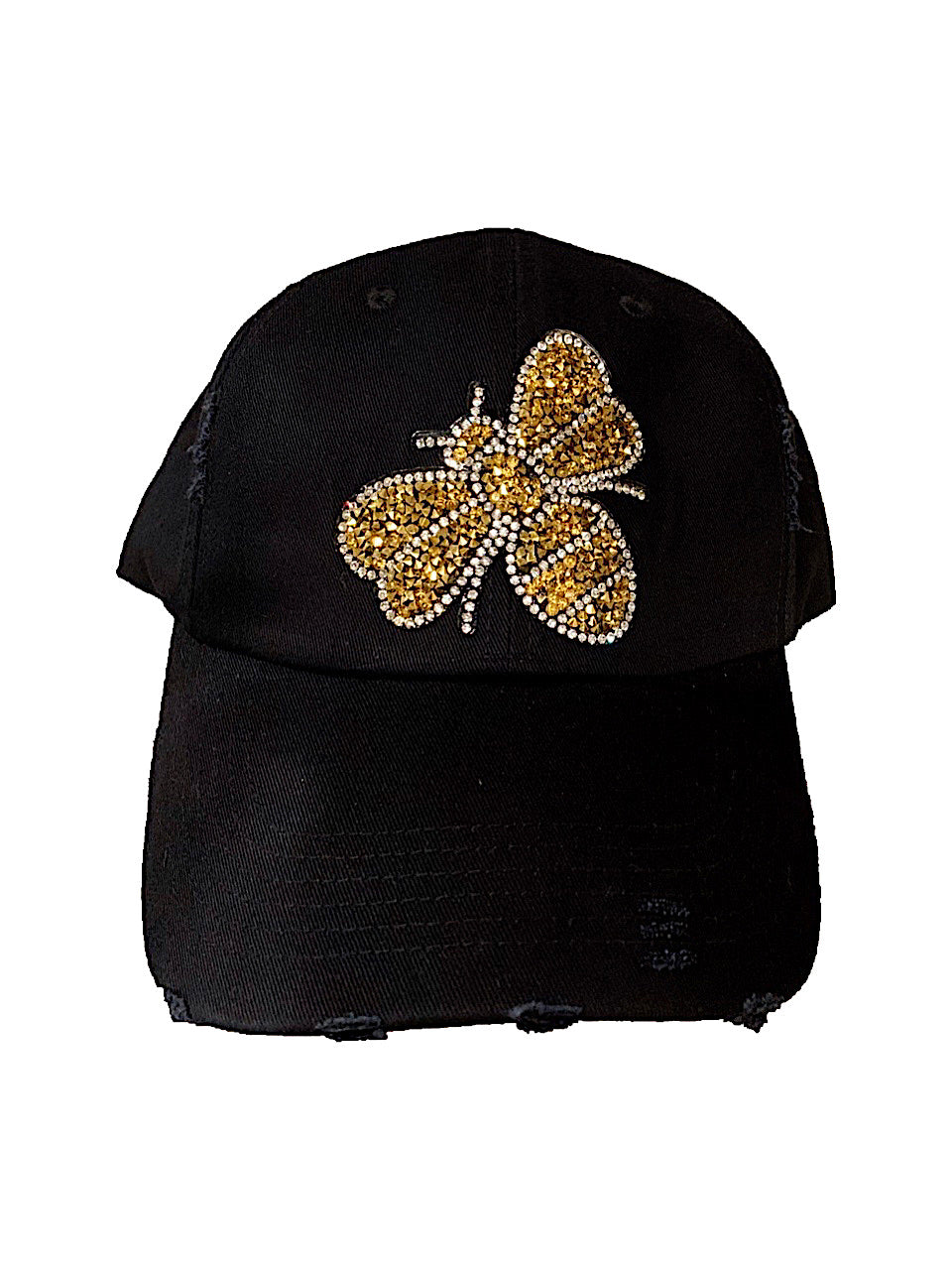 Gold Glitter Bee Distressed Hat