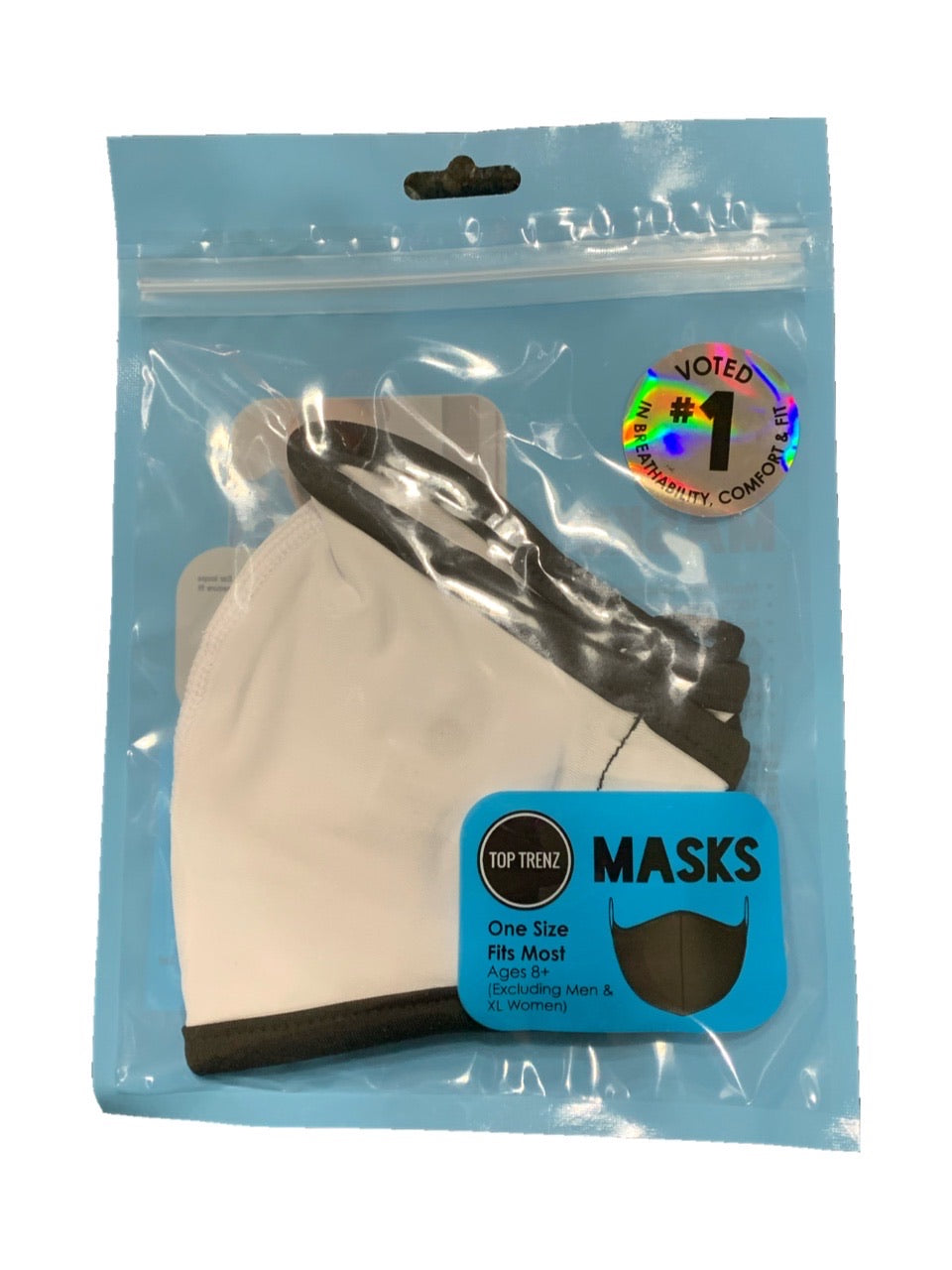 TOP TRENZ SOLID WHITE MASK - AGES 8+