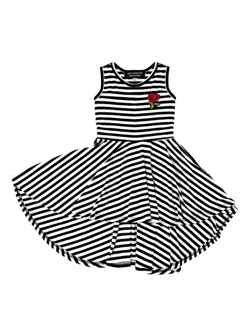 Wee Monster Black and White Rose Circle Dress