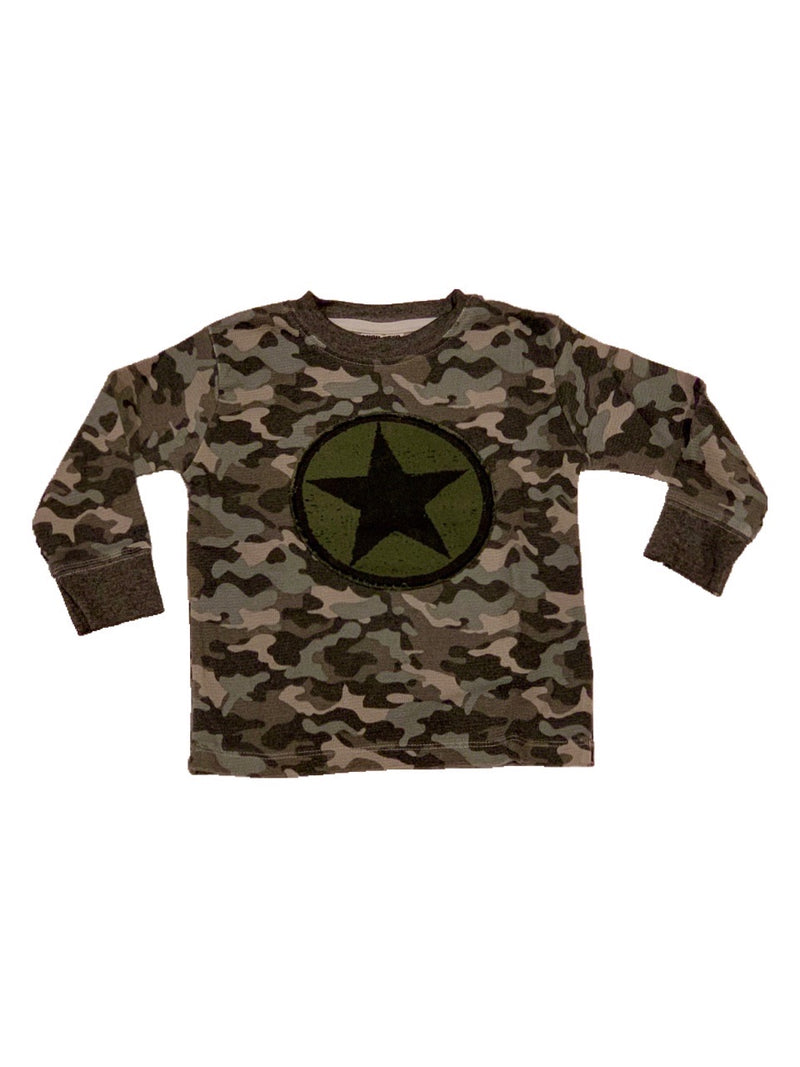 Mish Mish Black Camo With Olive Star Patch L/S Top