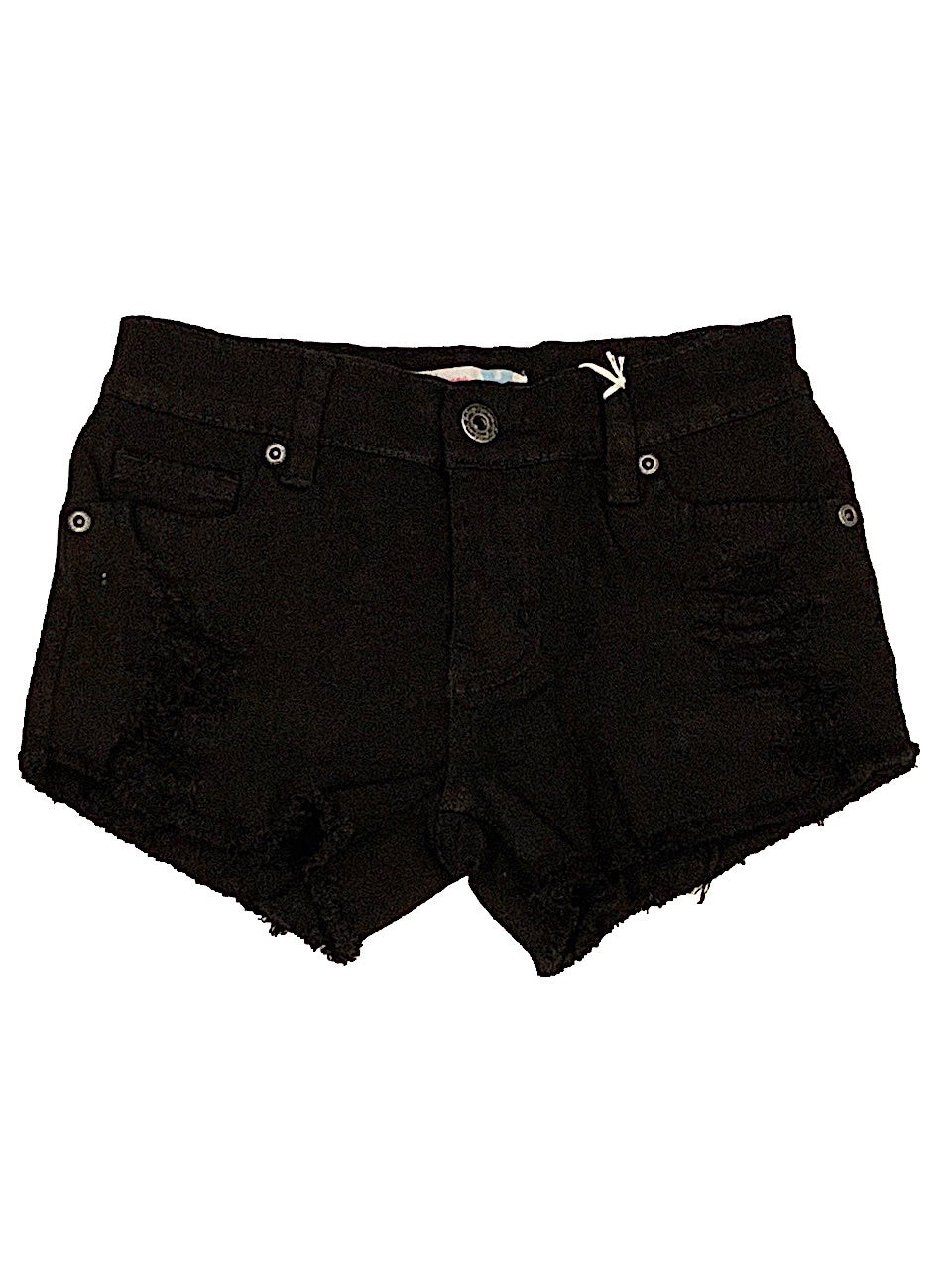 Vintage Havana Black Distressed Stretch Denim Shorts