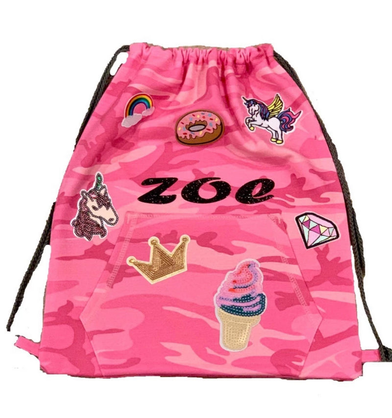 Personalized PATCH SLING BAG BACKPACK in Pink Camo