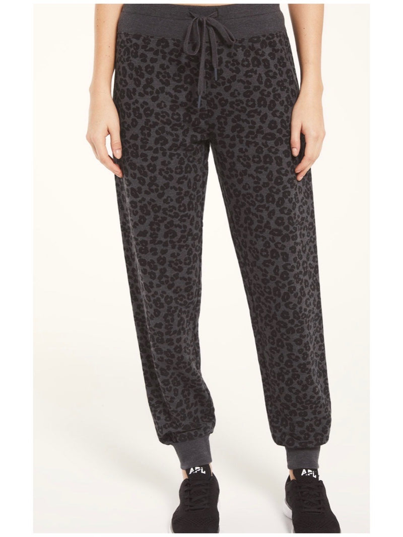 Z Supply Ava Leopard Jogger - Black