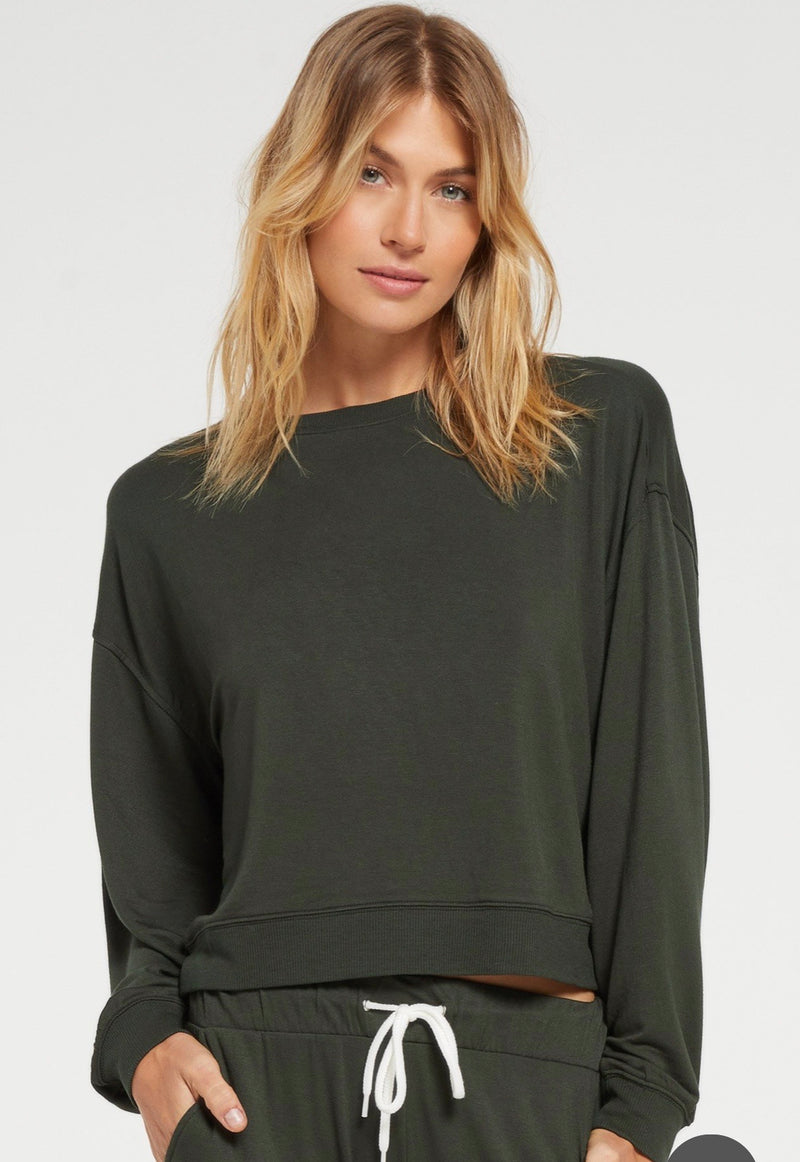 Z Supply Women Surrey Pullover Forest Green