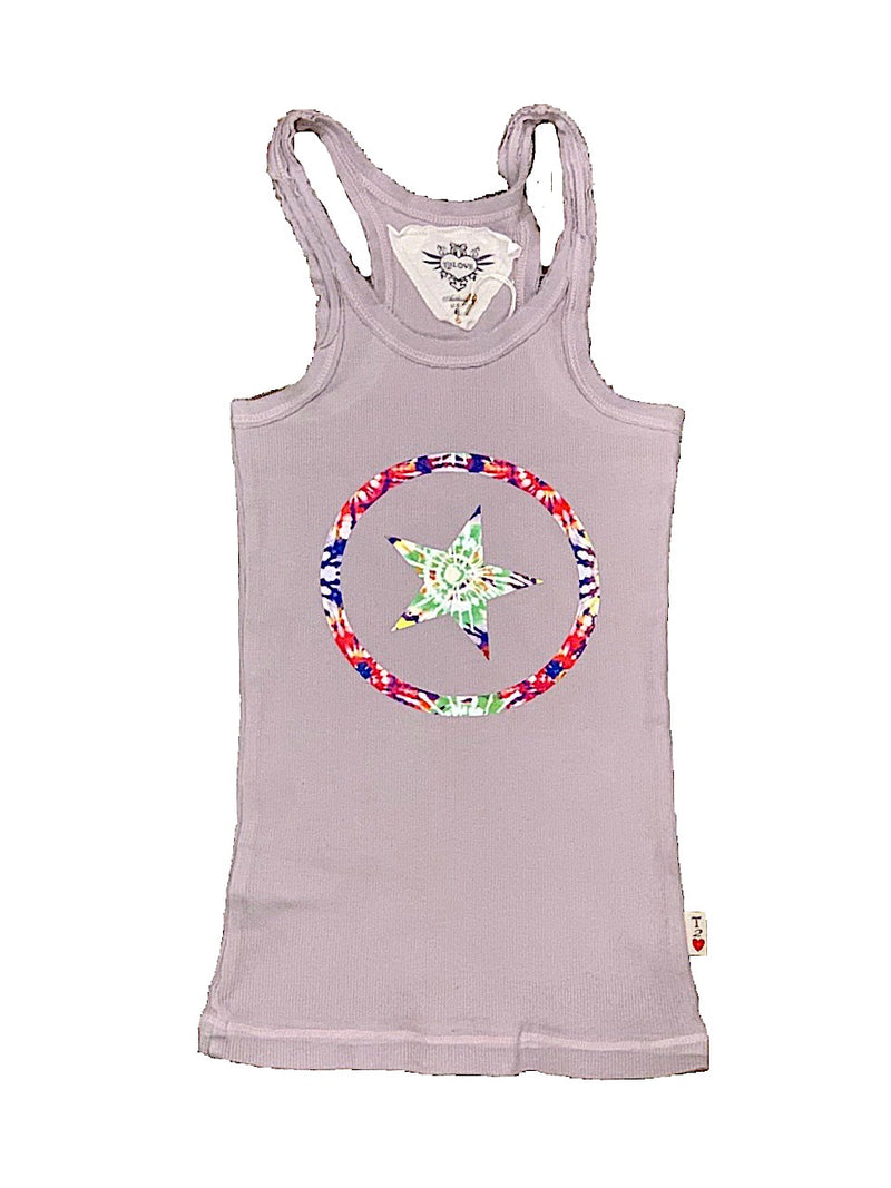 GREY TANK WITH TIE DYE CIRCLE/STAR