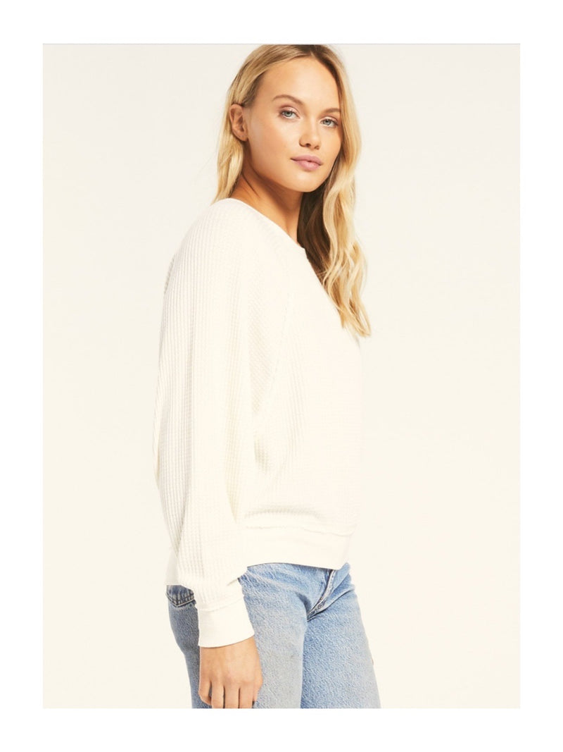 Z Supply Claire Waffle Long Sleeve Top - Bone