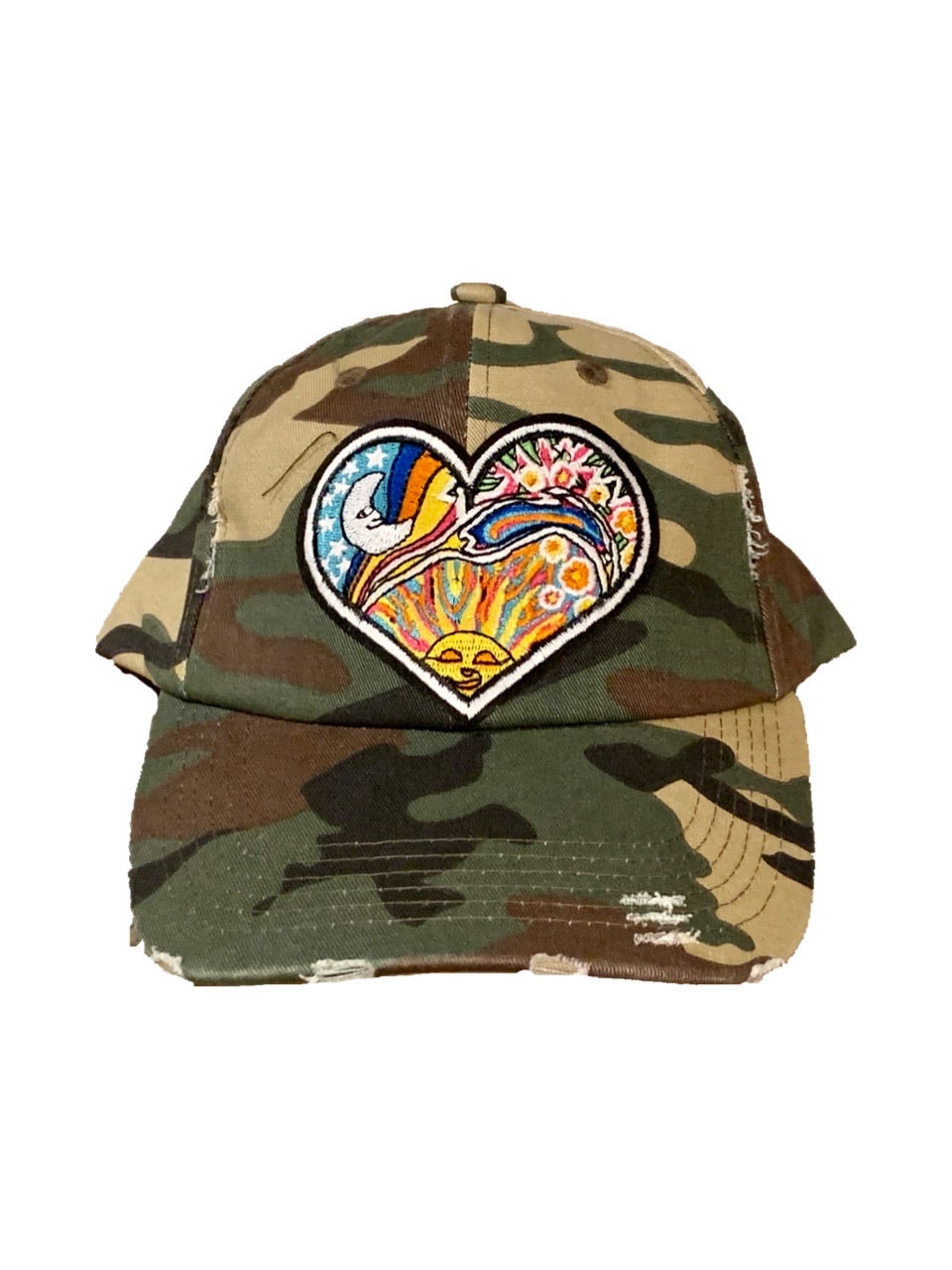 Sun and Moon Camo Distressed Hat
