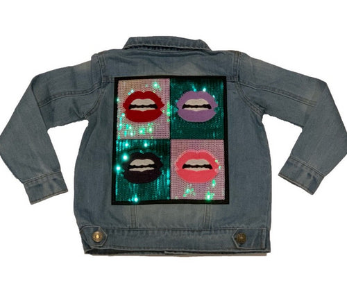Sparkle By Stoopher Jean Jacket With Sequin Lips