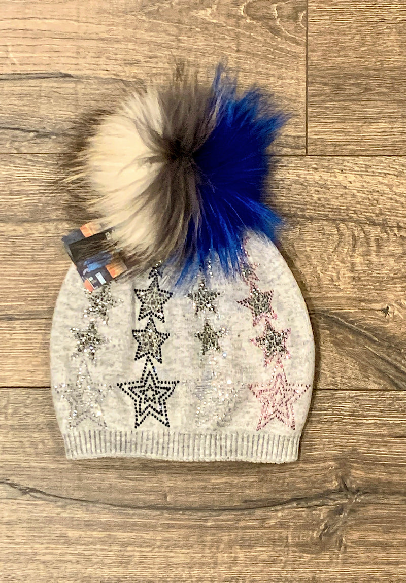 Colored Star Hat in Dusty Grey