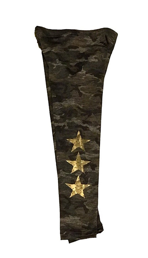 Dori Creations Green Camo with Gold Star Leggings