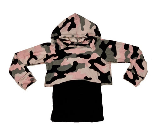 Sofi Pink Camo Crop Hooded Top With Lining