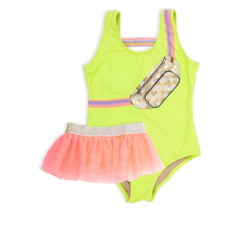 Shade Critters Citron Fanny Pack One Piece With Coral Tutu