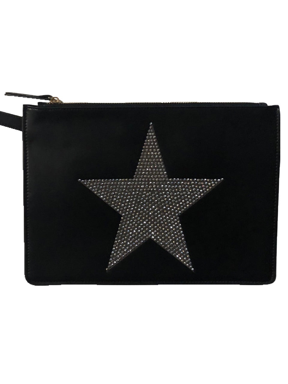 BLACK PVC CLUTCH WITH SILVER CRYSTAL STAR
