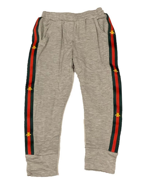 Little Mass Grey French Terry Fleece Jogger With Bee Tape