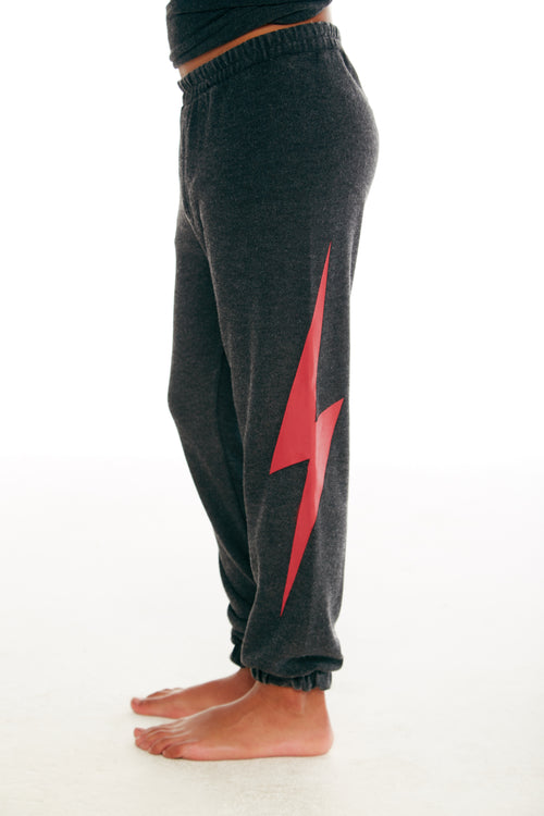 Chaser Boys Black Sweatpants with Red Bolt