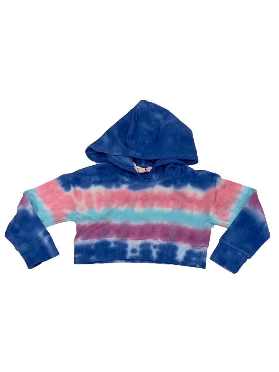 Blue and Purple Stripe Tie Dye Cropped Hoodie
