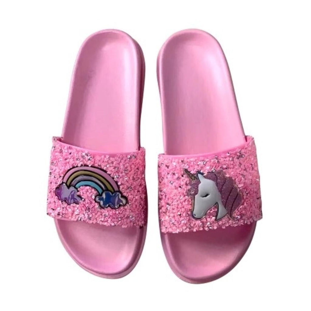 Lola and The Boys Pink Glitter Slides