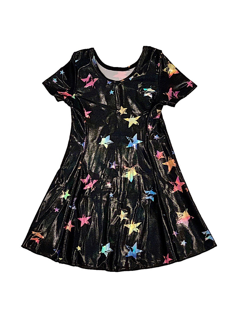 Social Butterfly Black Short Sleeve Dress With Sparkle Stars