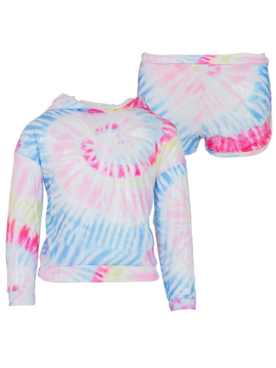 Lola And The Boys Tie Dye Sequin Hoodie Set