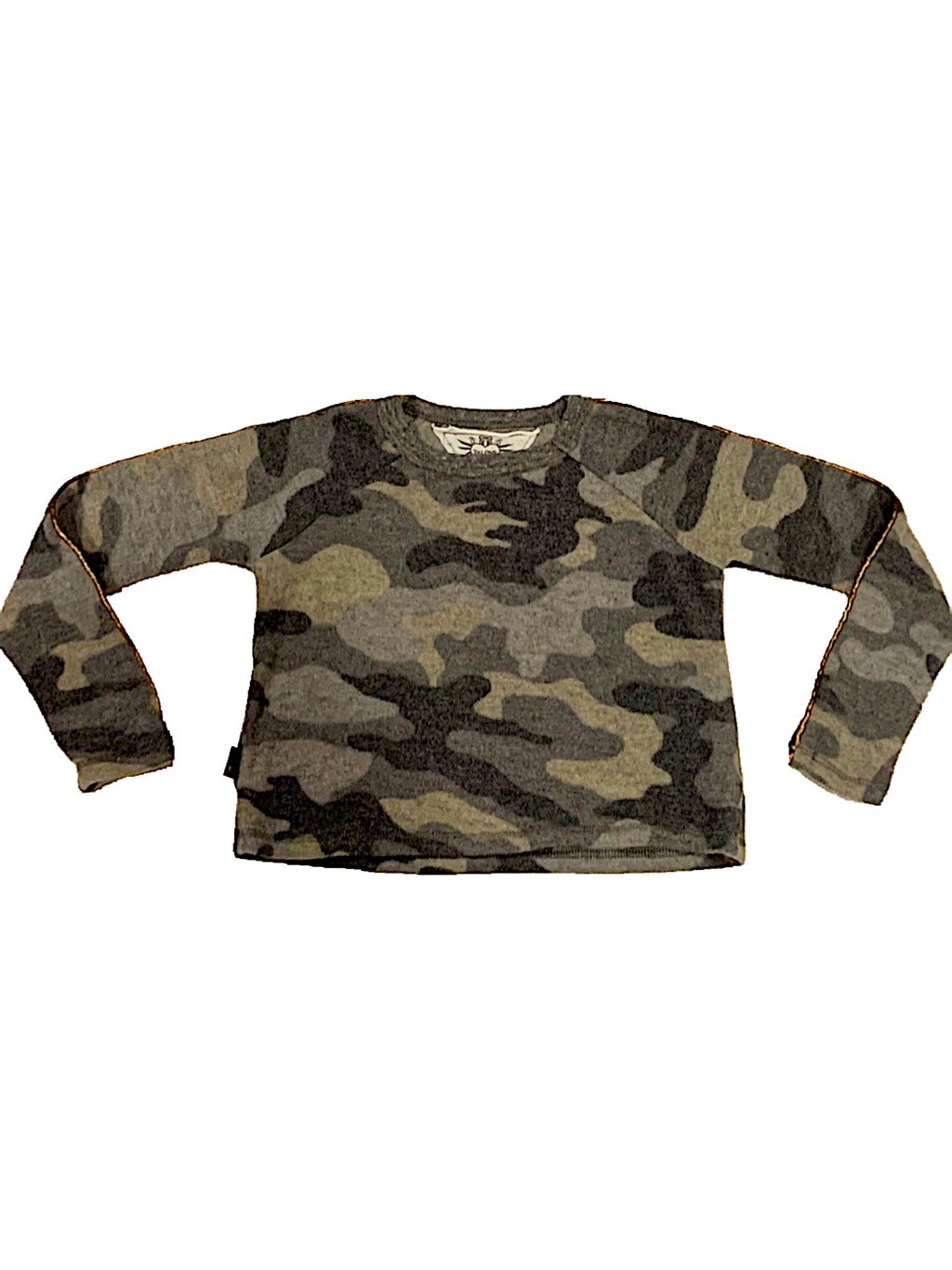 T2Love Camo L/S Crew With Gold Piping