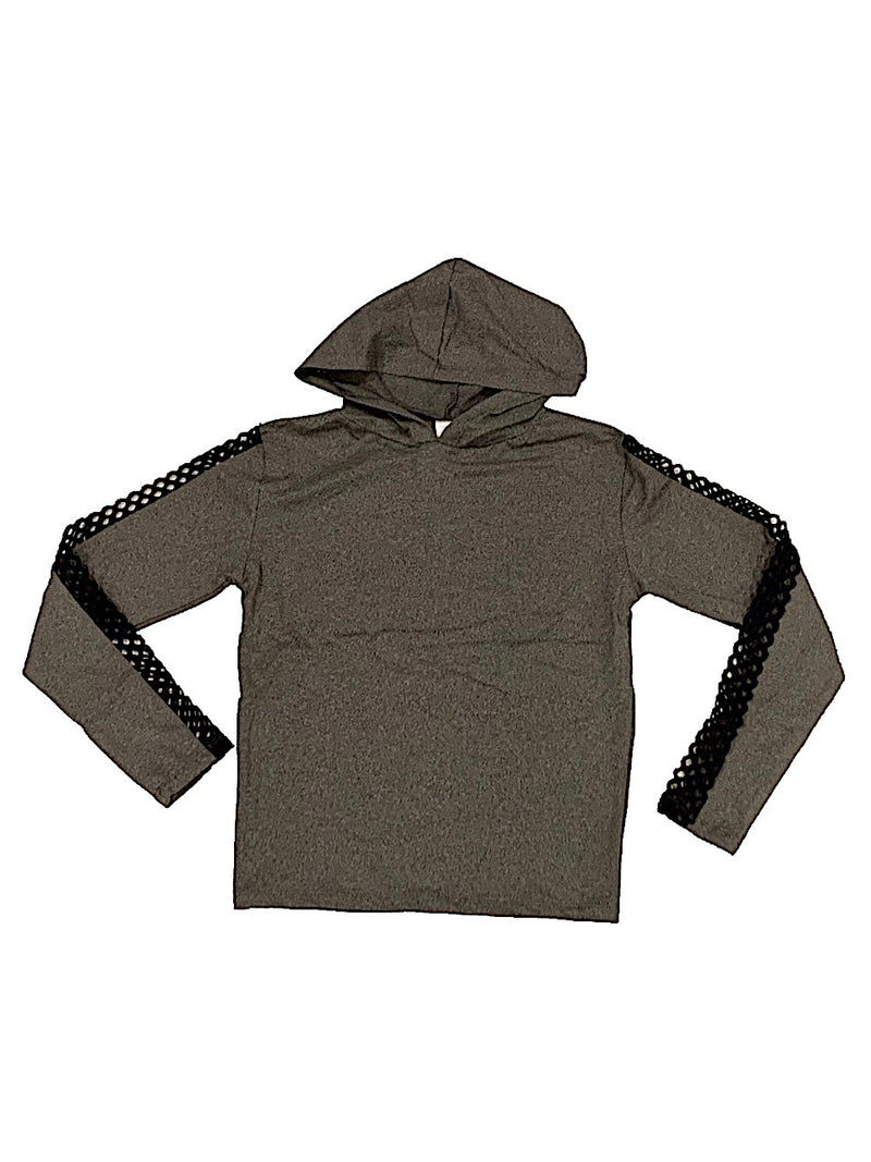 Suzette Heather Grey Hoodie With Fishnet Mesh on Sleeves