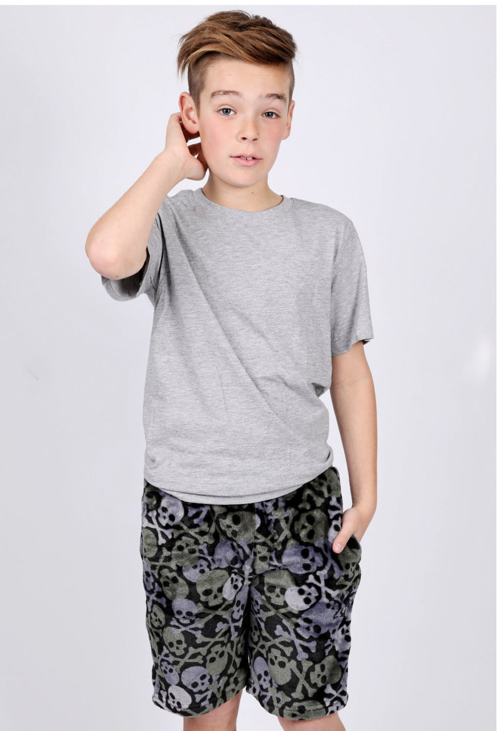 Boys Soft Fleece Skull Shorts