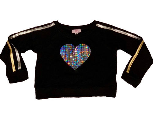 SOFI Black Sweatshirt with Silver Stripes On the Sleeve With Silver Heart