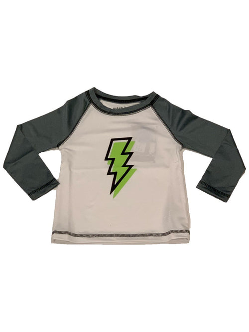Mish Mish L/S White and Coal Lightning Rash Guard