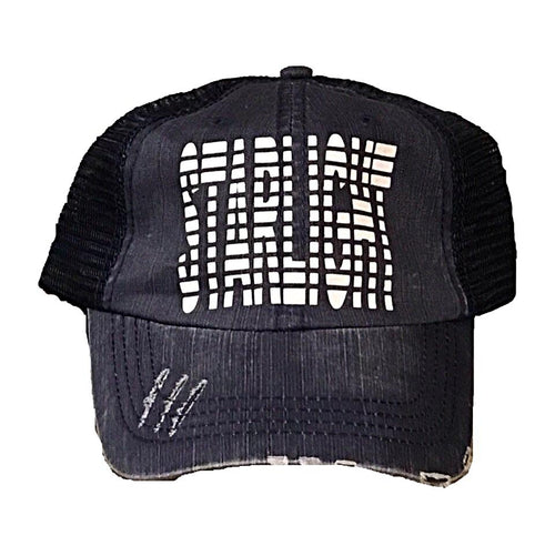 Camp Striped Distressed Trucker Hat - Any Camp