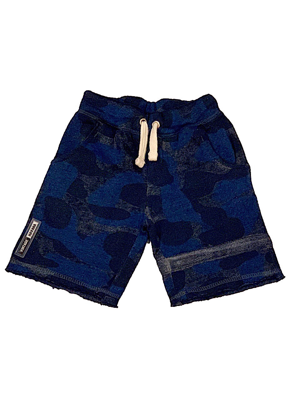 Vintage Havana Boys Navy Burnout Camo Short with Stripe