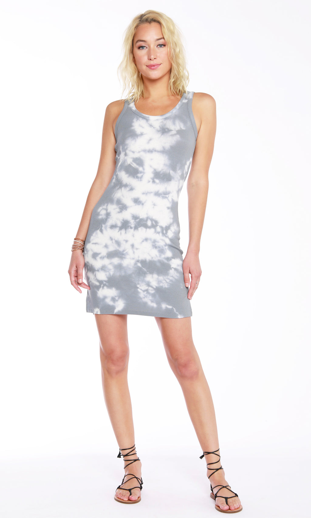 Bobi Overcast/White Hi Lo Tank Dress