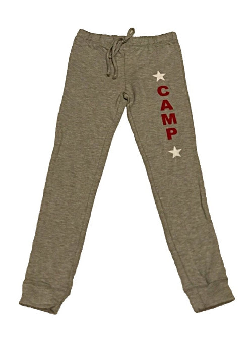 "Malibu Sugar Butter Fleece Grey Sweatpants With Red ""Camp"""