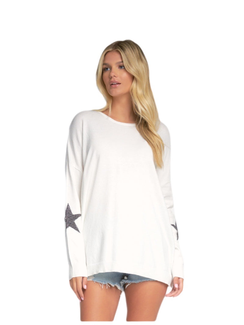 Elan White Sarah Sweater With Stars