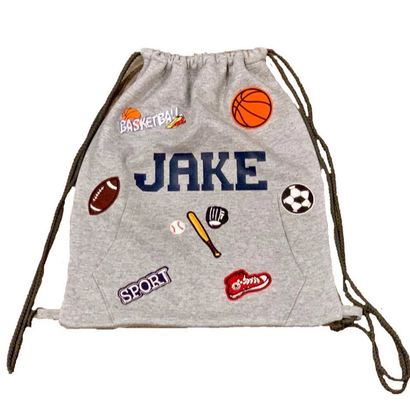 Personalized PATCH SLING BAG BACKPACK in Grey