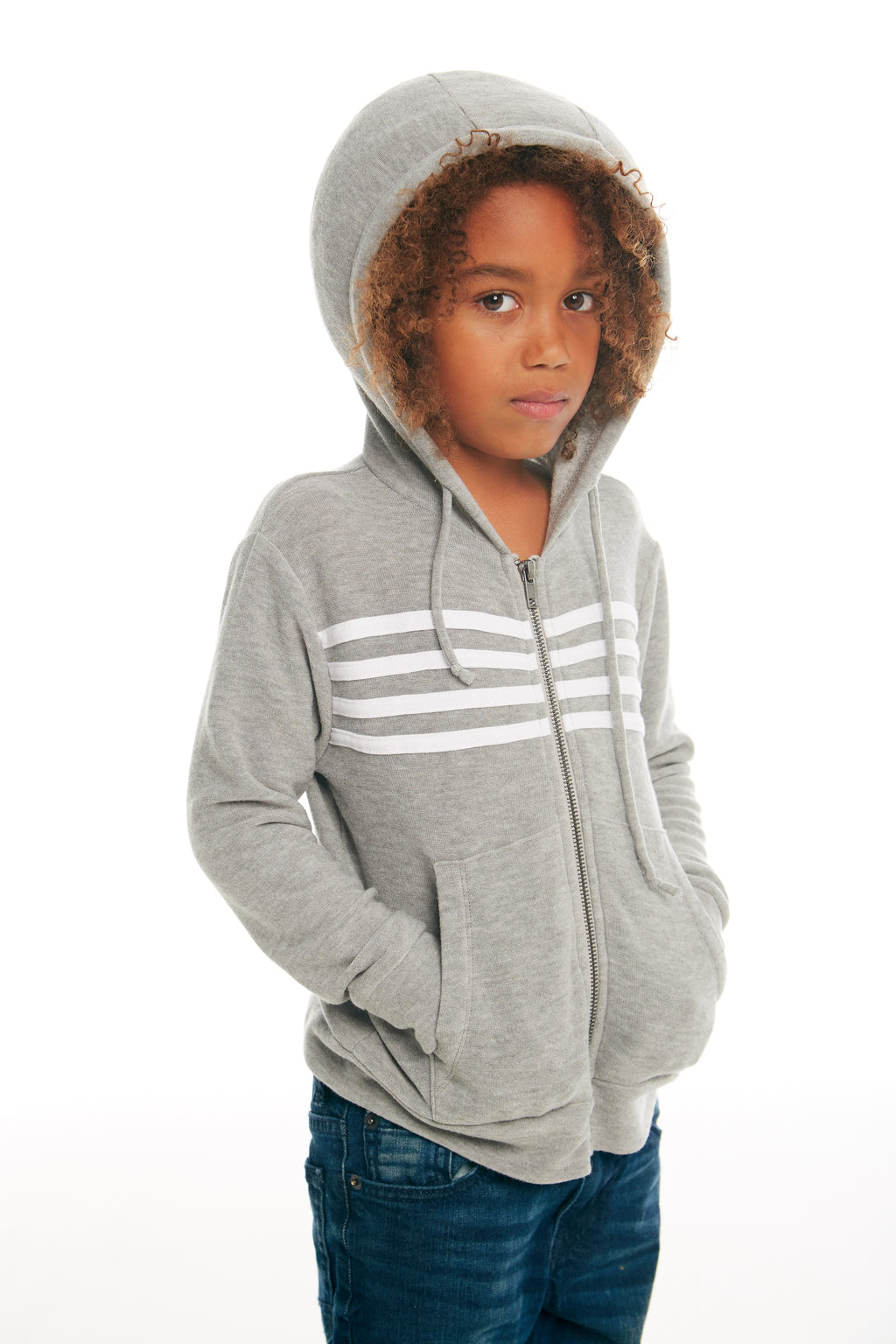 Chaser Boys Heather Grey Zip Up Hoodie