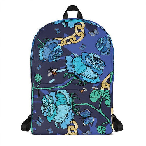 Blue Rose & Chain Backpack