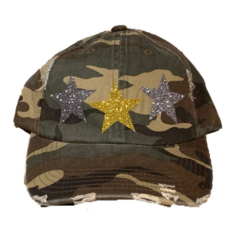 Camo Star Distressed Hat