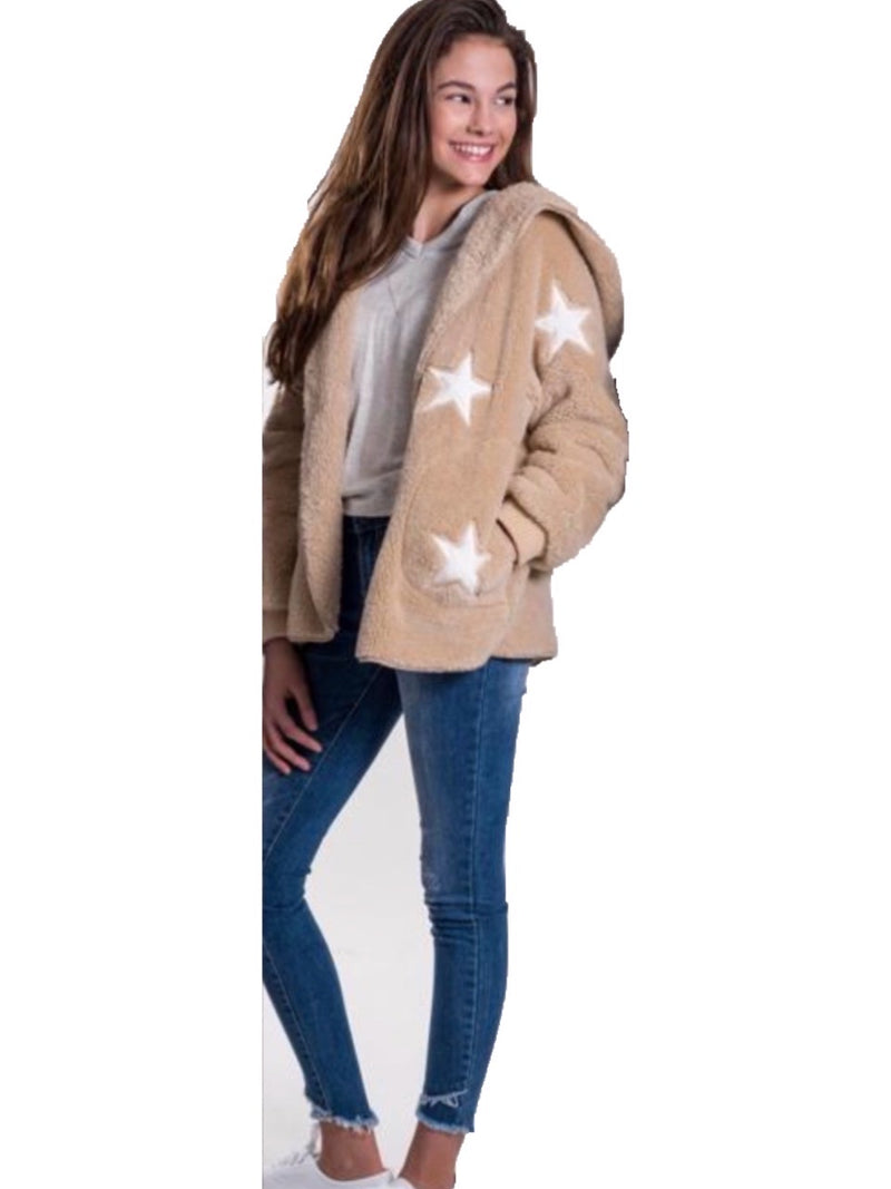 Vintage Havana Tan Fuzzy Hooded Jacket With White Stars
