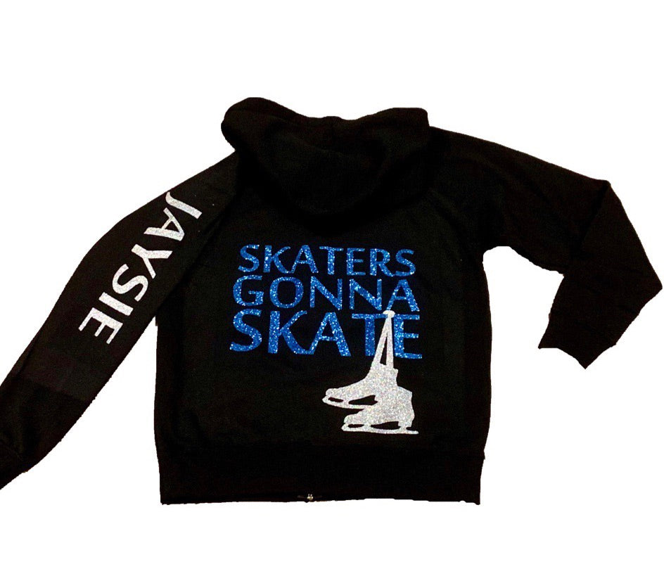 Personalized Ice Skater Zip Up Hoodie