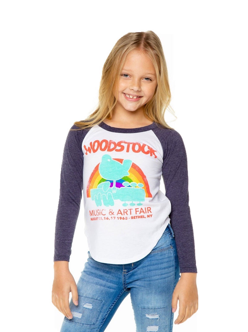 Chaser Girls White Woodstock Rainbow Long Sleeve Shirt