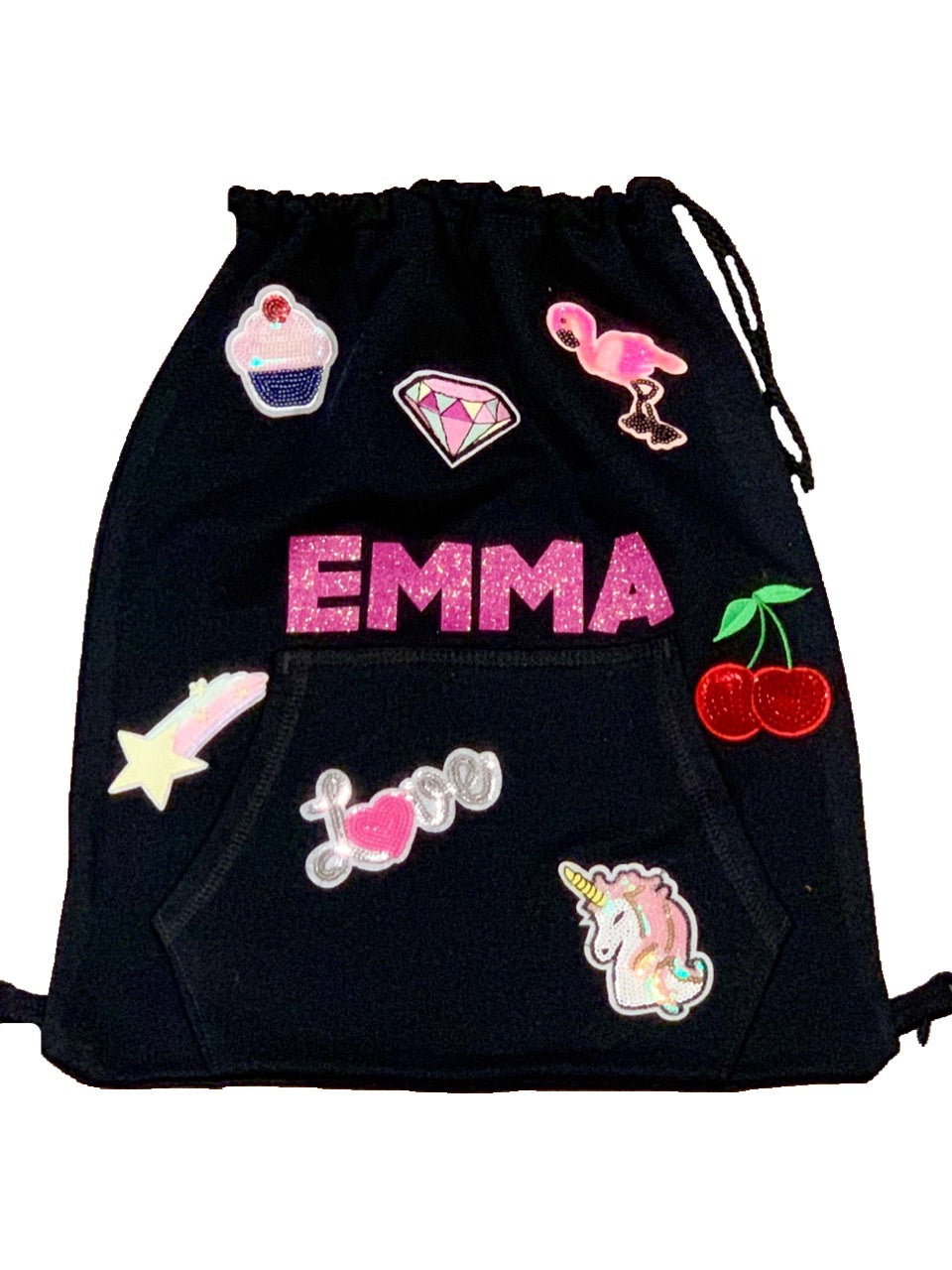 Personalized PATCH SLING BAG BACKPACK in Black
