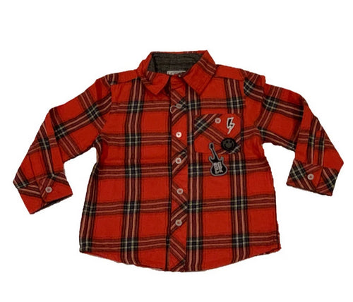 Losan Boys Orange Plaid Button Down Shirt with Patches