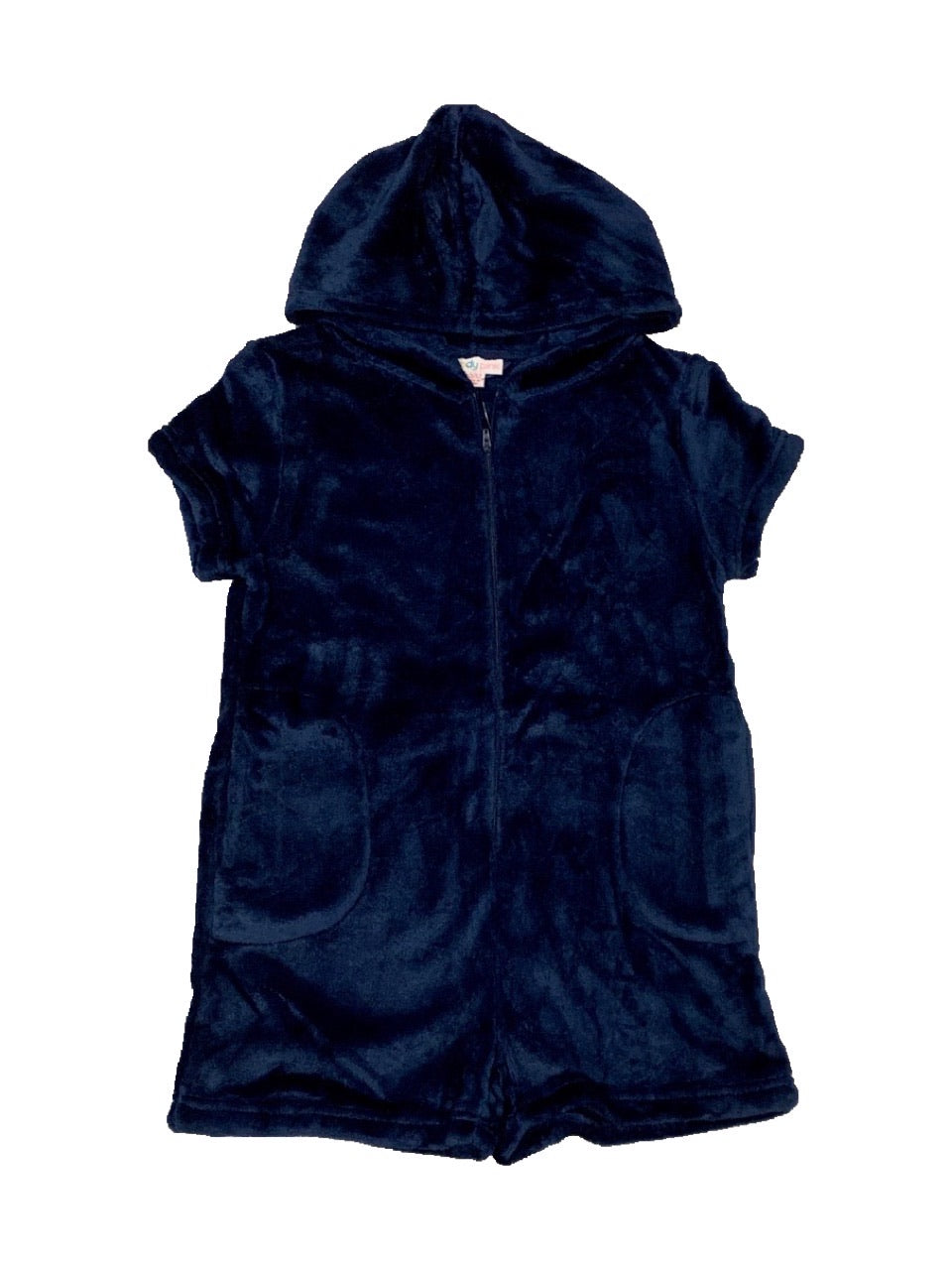 CANDY PINK FLEECE ROMPER - NAVY