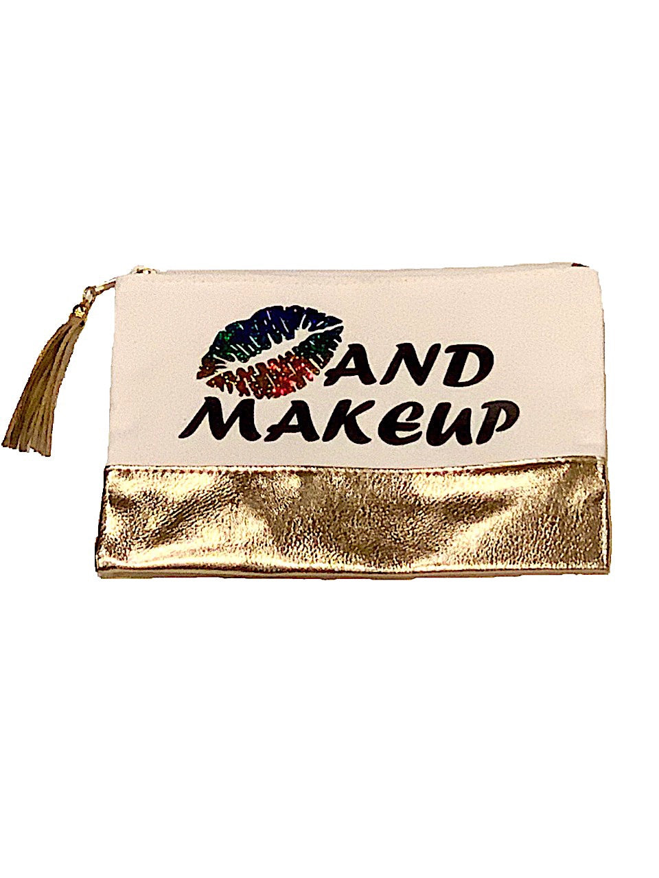 KISS AND MAKEUP CANVAS POUCH