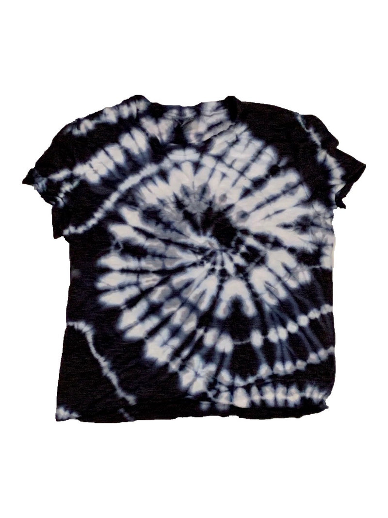 Firehouse Black and White Tie Dye Crop Tee