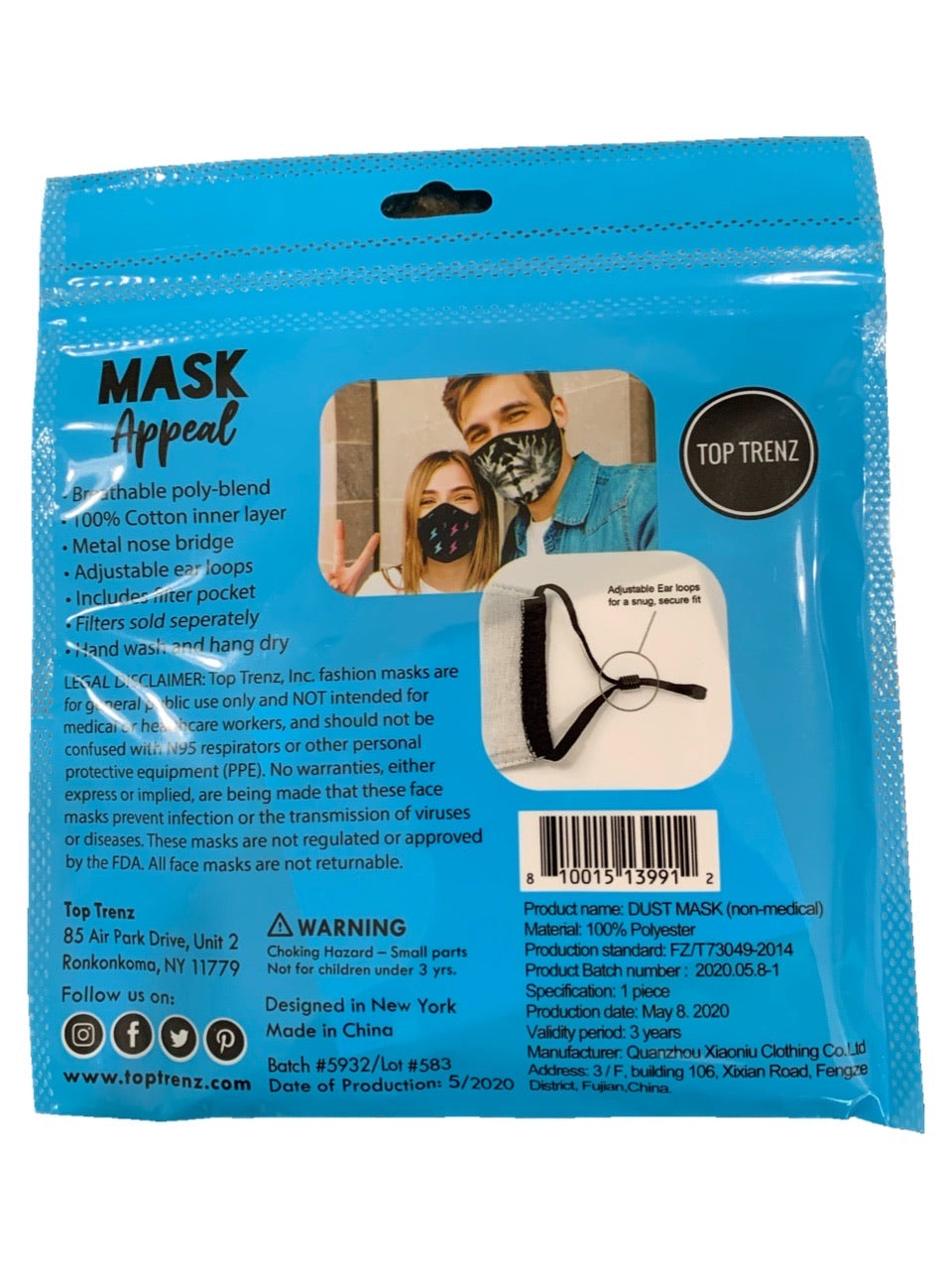 TOP TRENZ BLACK/WHITE STARS MASK - AGES 8+