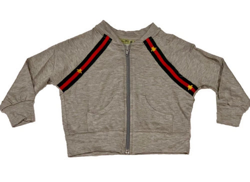 Little Mass Grey French Terry Fleece Bomber With Embroidered Bee Tape