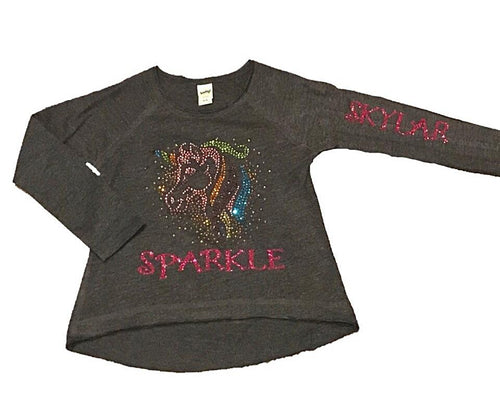 PERSONALIZED UNICORN SPARKLE L/S TEE