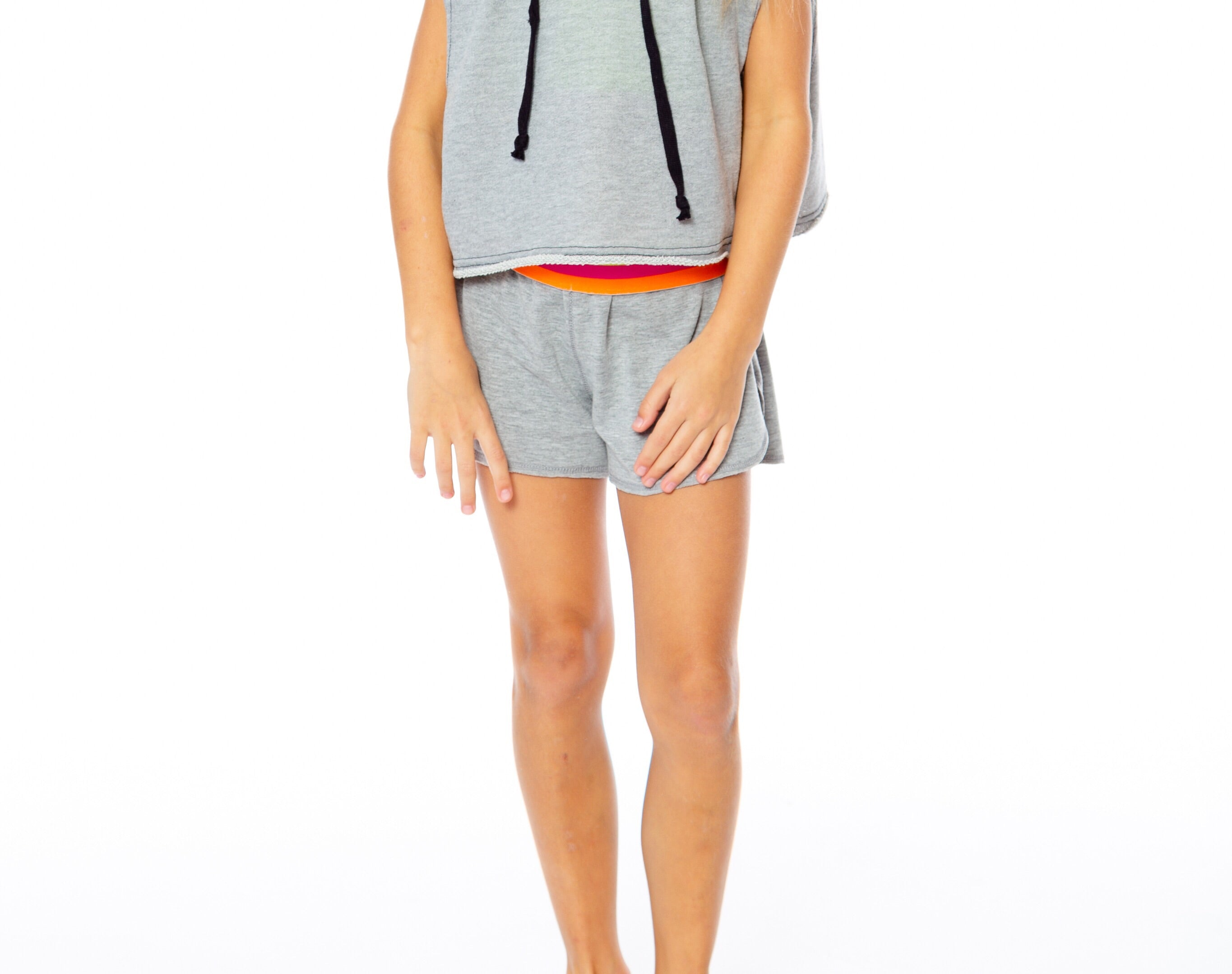 Malibu Sugar Heather Grey Fold Over Shorts with Hot Pink, Orange, Yellow Waist Band